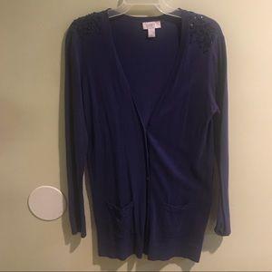 Women's LOFT light blue cardigan
